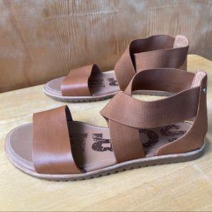 Sorel Ella Camel Brown Leather Sandal